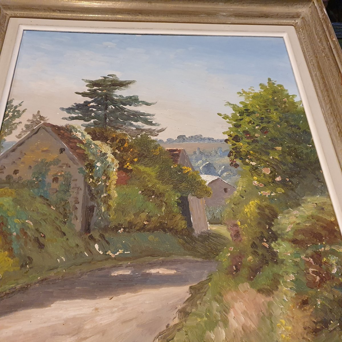 Yves Moisan Village Huile 55x46 Peintre Nivernais-photo-3