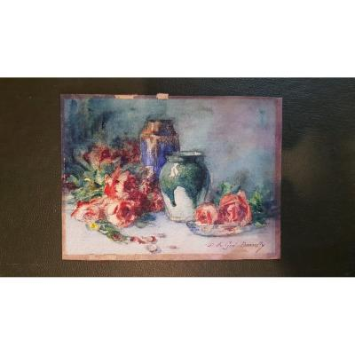 Charming Watercolor On Cardboard Still Life Double Face By M Du Gué Bourelly