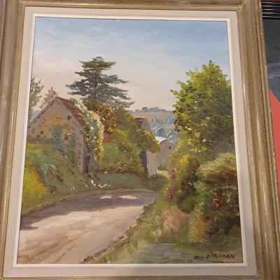 "Yves Moisan Village Huile 55x46 Peintre Nivernais"""