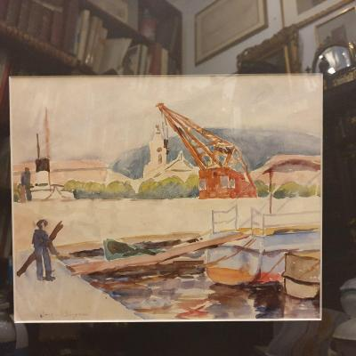 Jacques Bouyssou Watercolor Port Marine