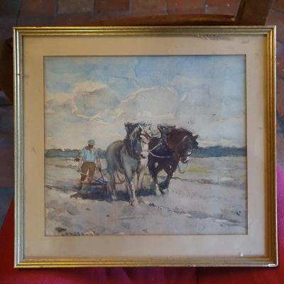 F Toussaint Peintre Belge Aquarelle Scène De Chevaux