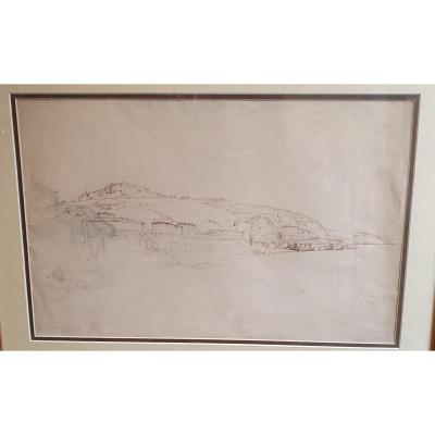 Drawing Adolphe Viollet Leduc Ink Pencil Port Italien