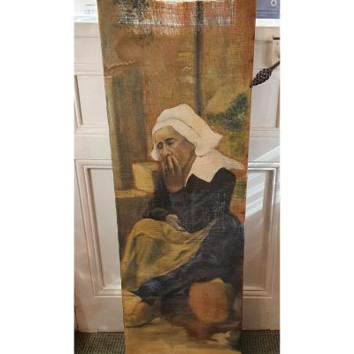 Large Breton Woman Painting Early 19th Eme