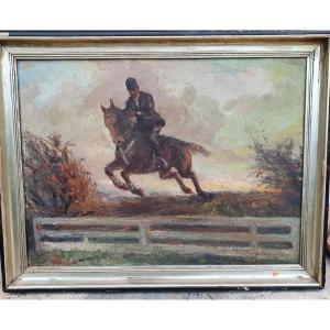 J Van Veegaete course d obstacle de chevaux peintre belge
