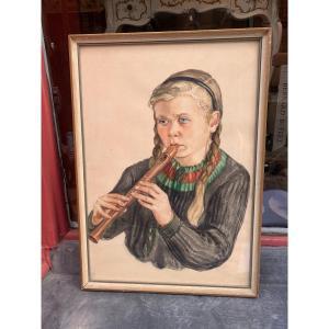 Portrait Jeune Fille à La Flûte Aquarelle peintre autrichien E Waidt