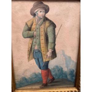 Aquarelle Savoyard 1830 XIX ème savoie