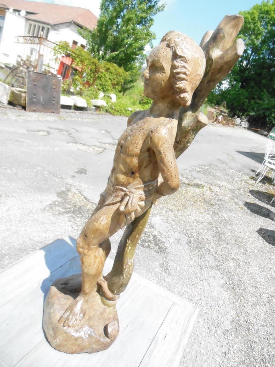 Sculpture noyer Statue Saint-Sébastien,  XVIIème