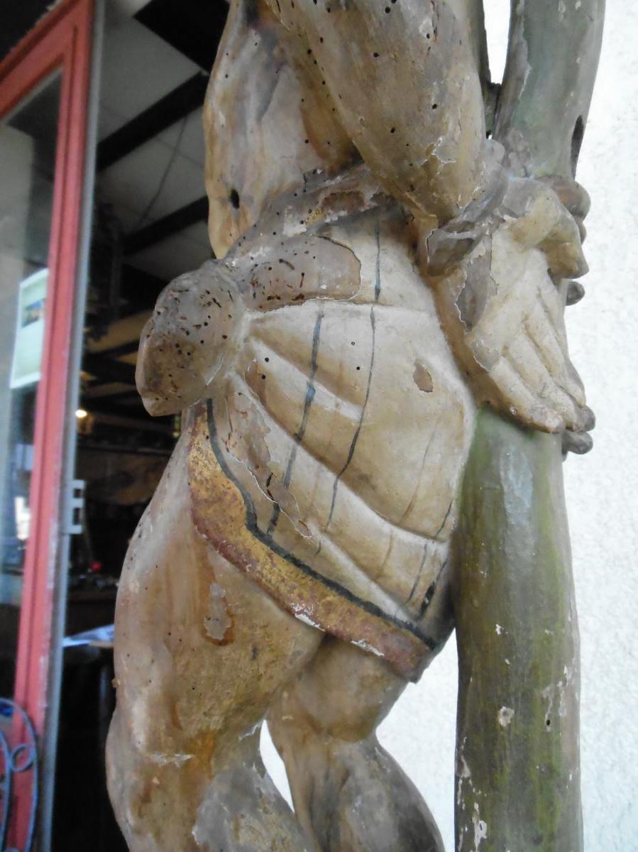 Sculpture noyer Statue Saint-Sébastien,  XVIIème-photo-2