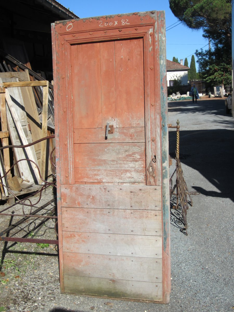 Porte ancienne rouge en Chêne, XVIIIème