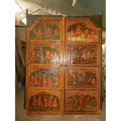 Old Gate Of India Painted Scene Religious Indouiste