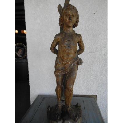 Sculpture Noyer statue Saint Sebastien XVII Eme
