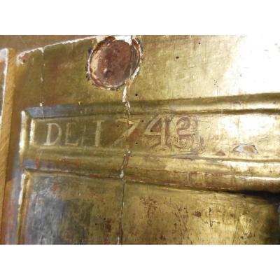 2 Petits Panneaux de bois dorés,  XVIII ème,  Applique, boiserie