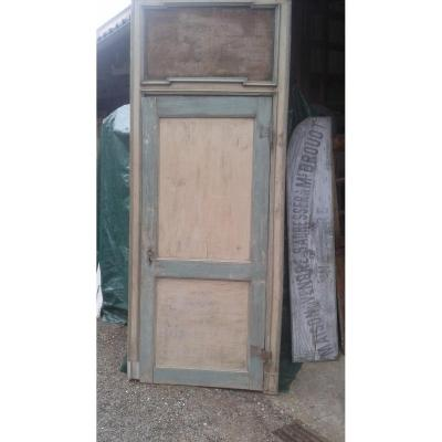 Rare Door XIXth With Frame And Imposte