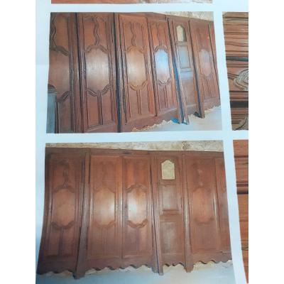 Belle Suite De 5 Placards De Boiserie En Noyer XVIII Eme