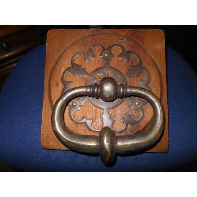 Rare Damascene Wrought Iron Door Knocker