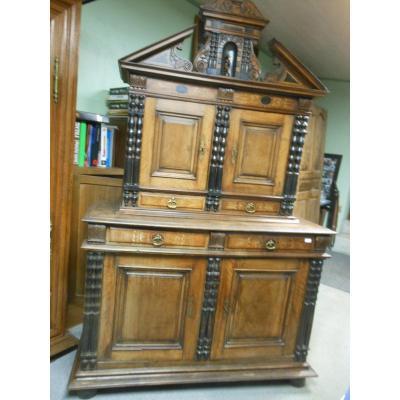 Modest Italian Cabinet Al In Walnut, 4 Doors 4 Drawers, XVIII Eme Sideboard 2 Corps Retreci