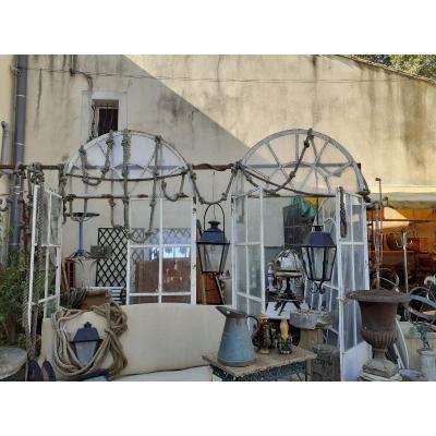 4 Elements d'Orangerie En Fer Forgé Et Verre 19 Eme, serre , jardin d'hiver,serre