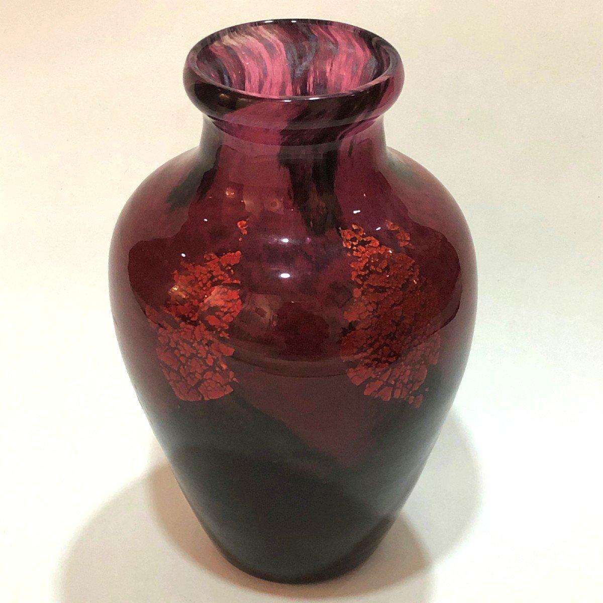 Daum Nancy, Vase De Forme Balustre à Inclusion D'or (h: 28 Cm)