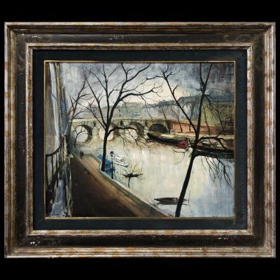 Bernard Lignon, « Paysage Animé Sur Les Quais De Seine »