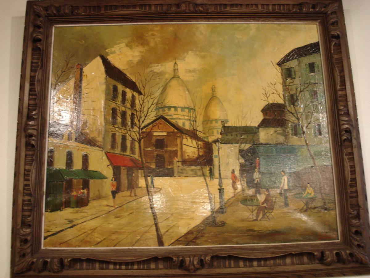 View Of Paris Oil On Canvas Art Deco