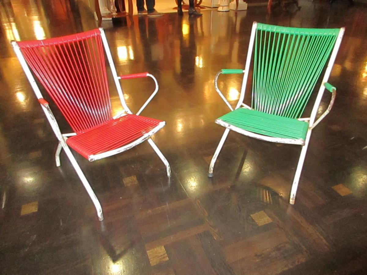 Pair Of Children 's Chairs Of Period 50 In Iron And Scoubidou