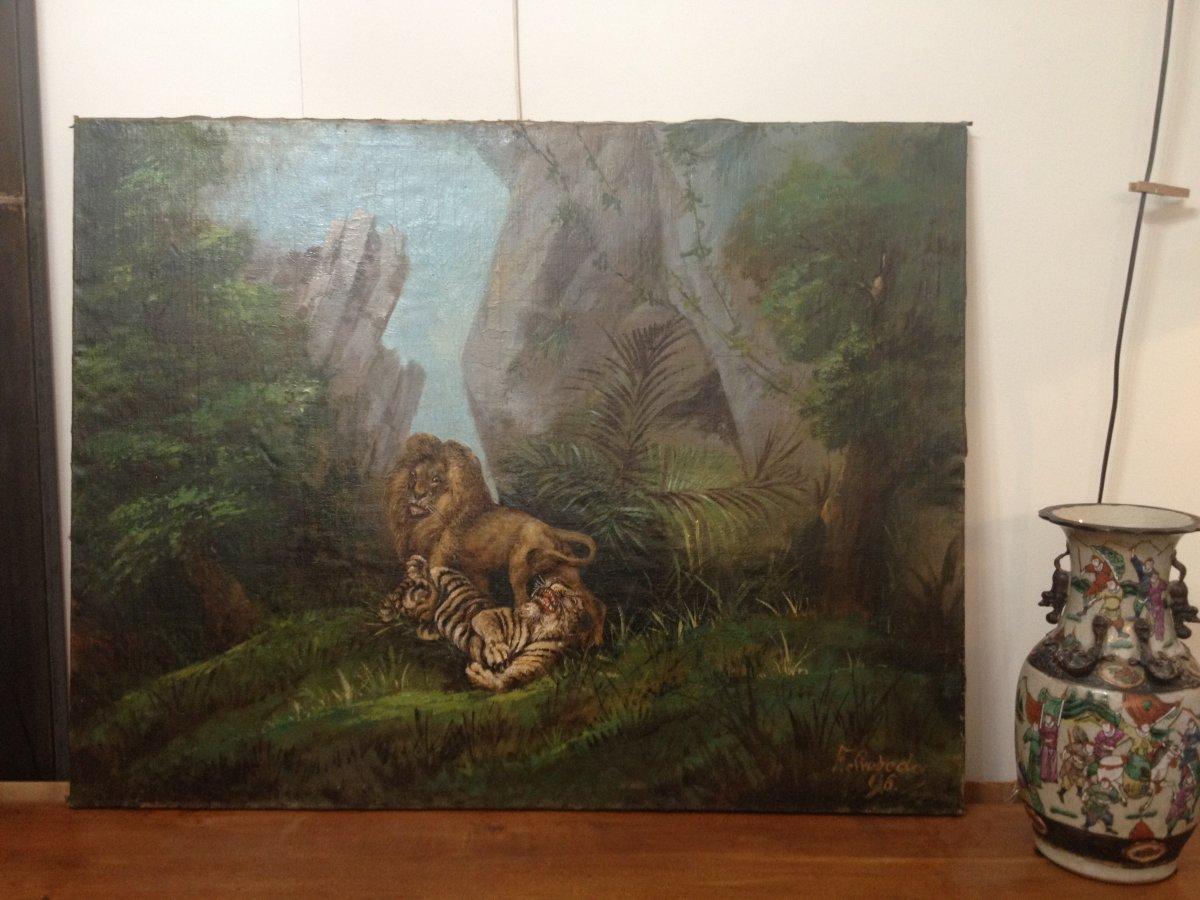 Tableau Le Jeu De La  Jungle  Entre  Lion Et Tigre