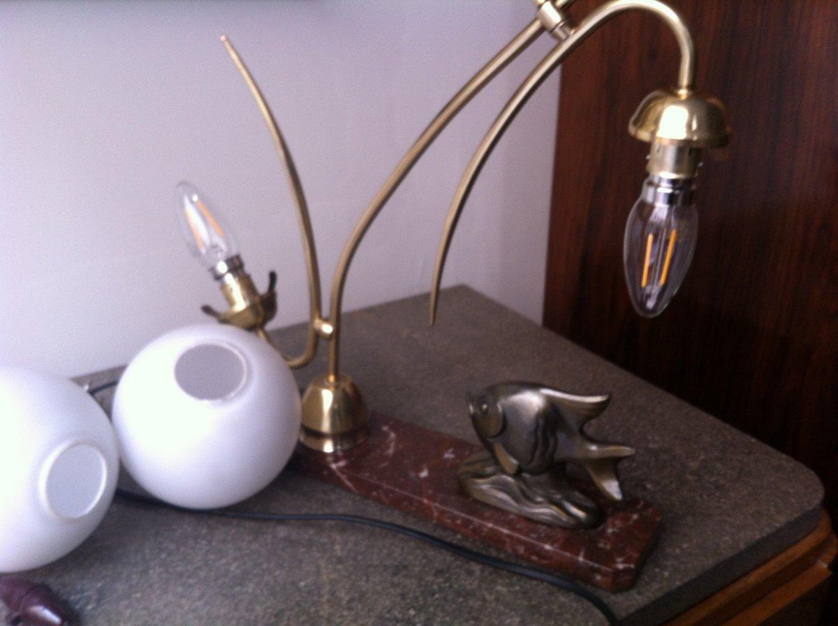 Lampe Au Poisson d'époque Art Déco-photo-6