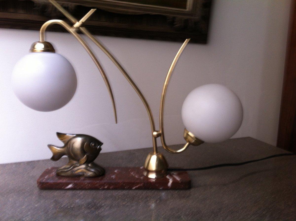 Lampe Au Poisson d'époque Art Déco-photo-7
