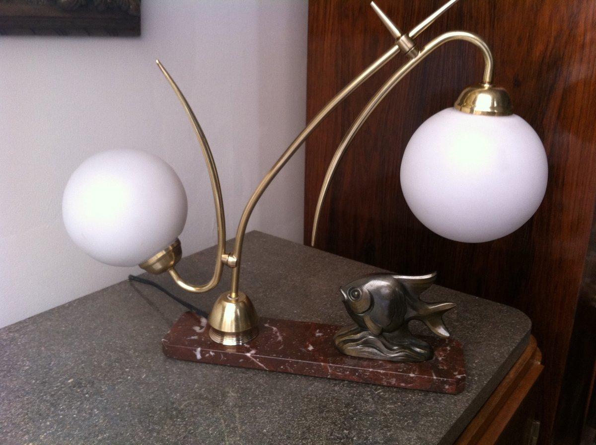 Lampe Au Poisson d'époque Art Déco
