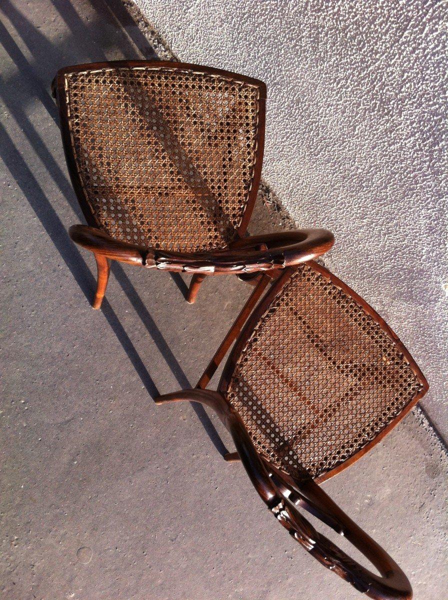 Paire De Chaises En Palissandre-photo-4