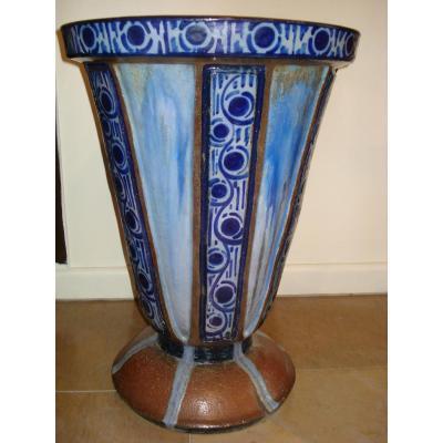 Grand Vase d'époque Art Déco En Céramique