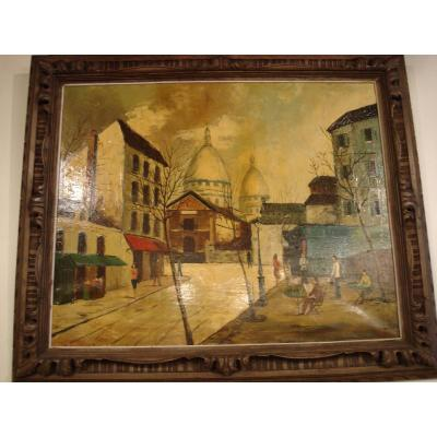 View Of Paris Oil On Canvas Art Deco