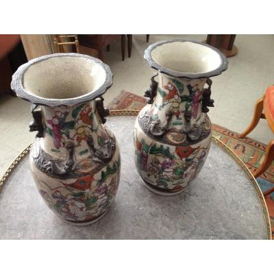 Pair Of Vases Nankin Lace Collar Extreme Orient.