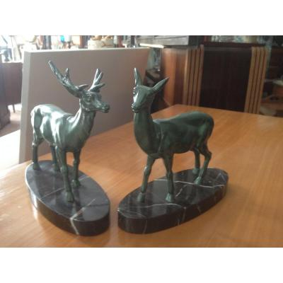 Art Deco Deer And Deer