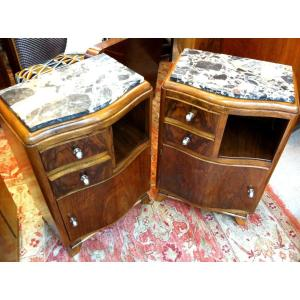 Art Deco Period Curved Bedside Tables