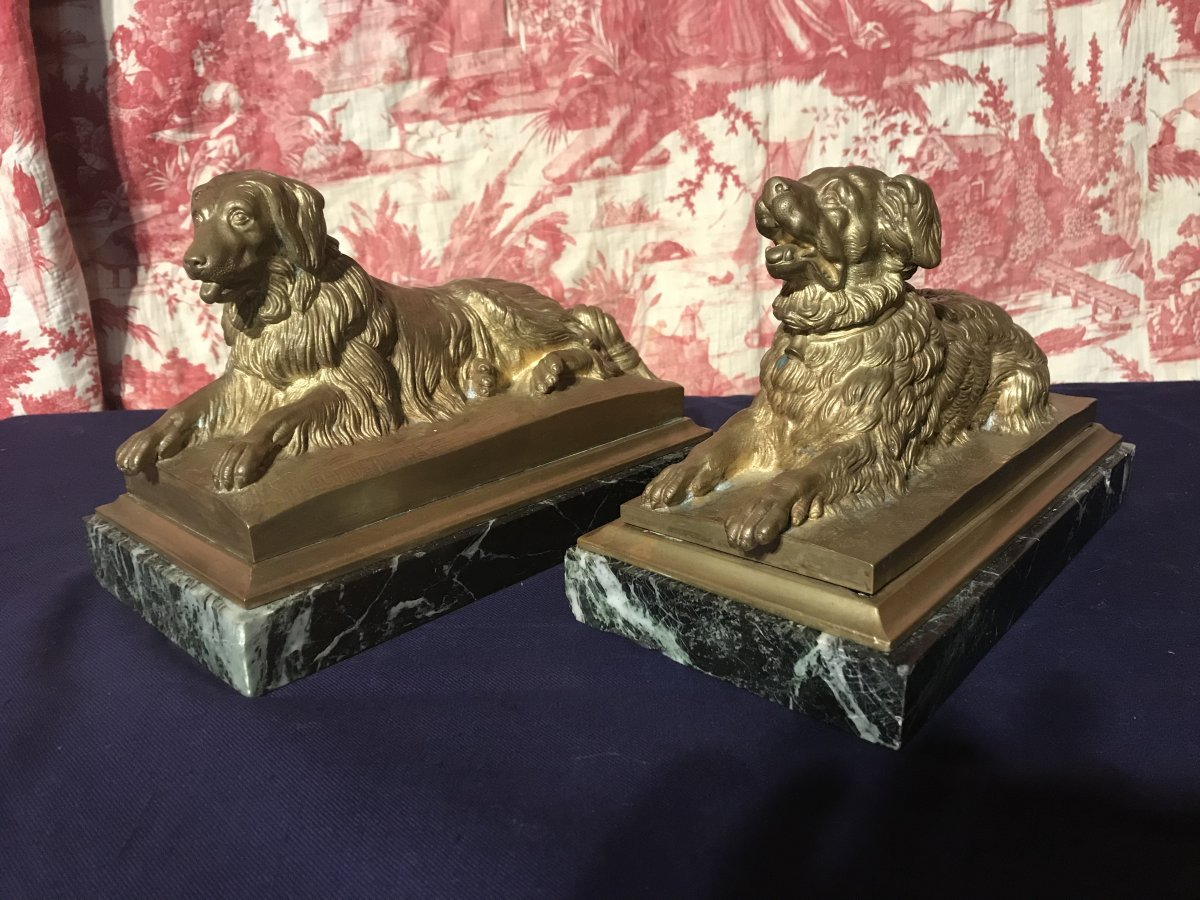 Pair Of Dogs In Gilt Bronze