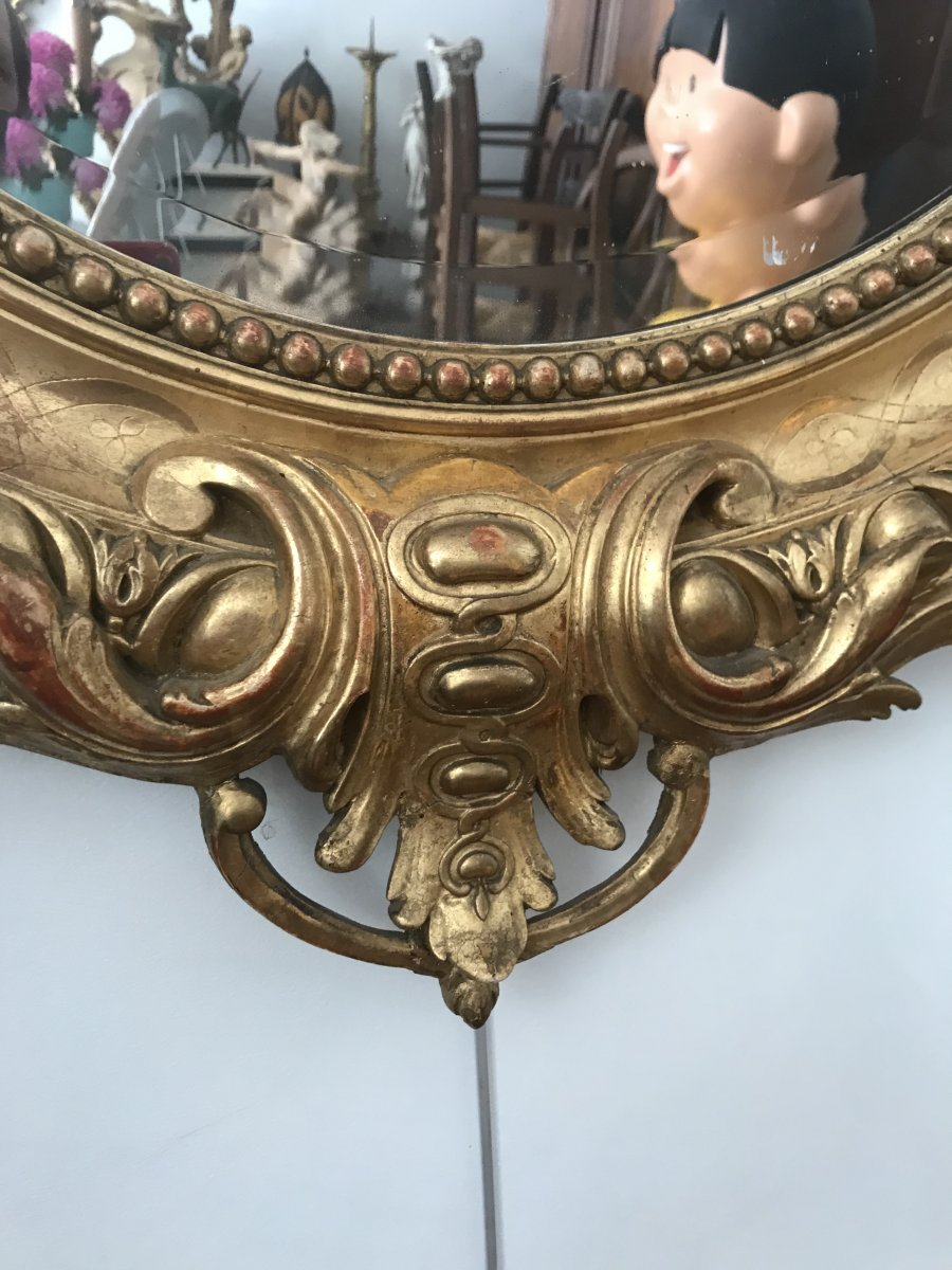 Oval Mirror In Golden Wood-photo-4