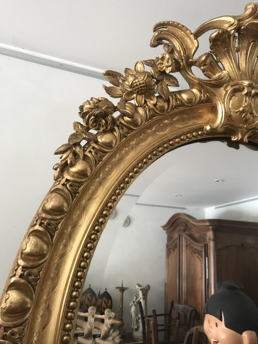 Oval Mirror In Golden Wood-photo-1