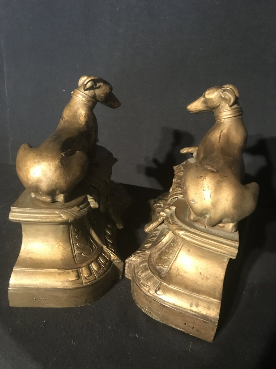 Pair Of Greyhounds In Golden Cast Iron-photo-2