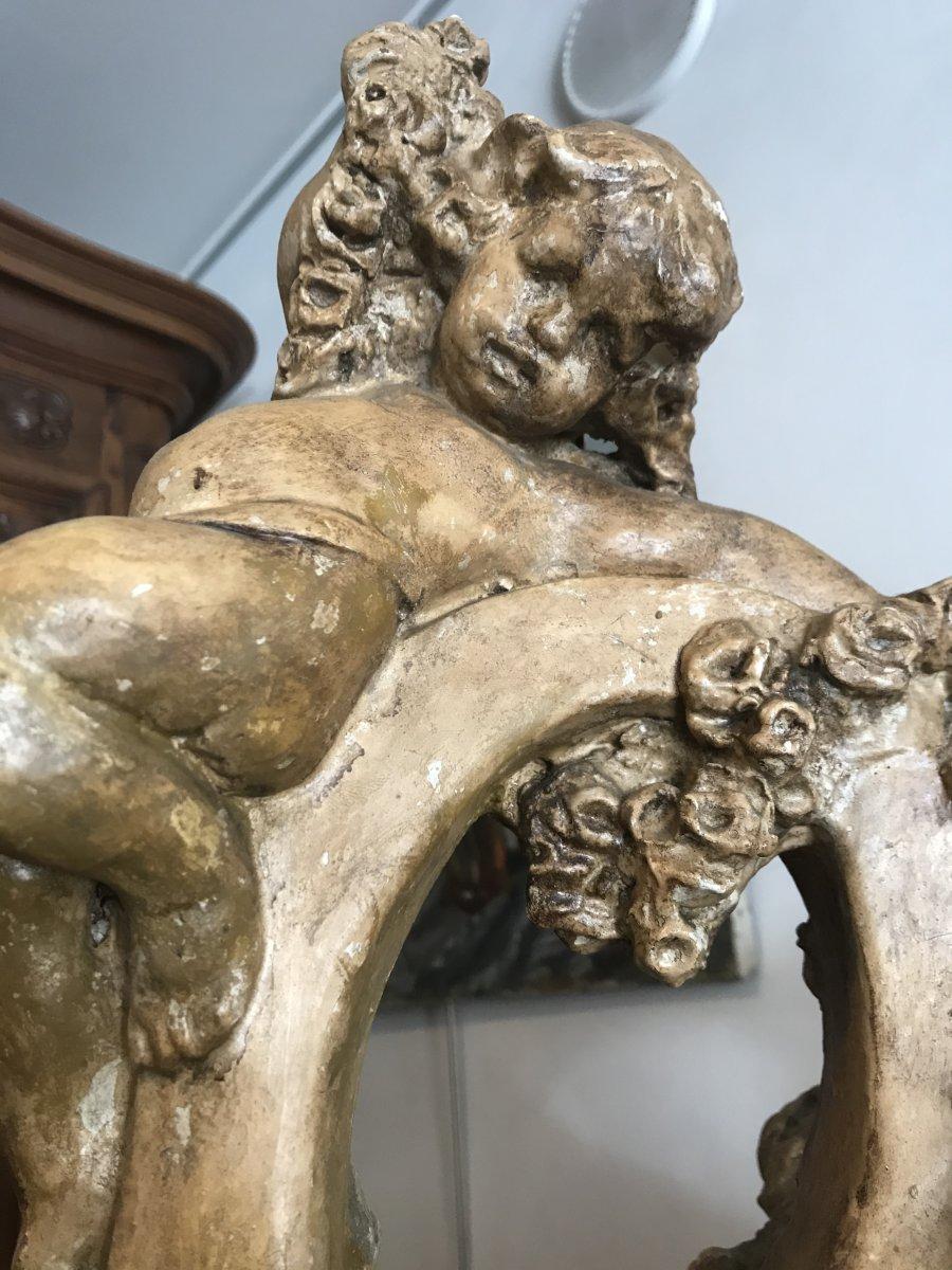 Important Ewer In Terracotta With Cherub Decor-photo-6