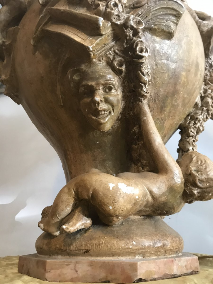 Important Ewer In Terracotta With Cherub Decor-photo-8