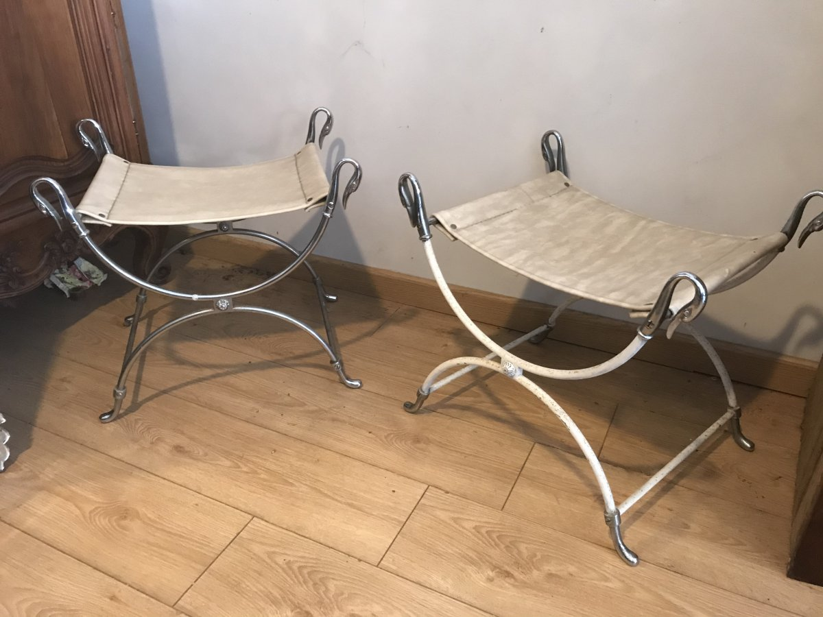 Pair Of X Gooseneck Stools
