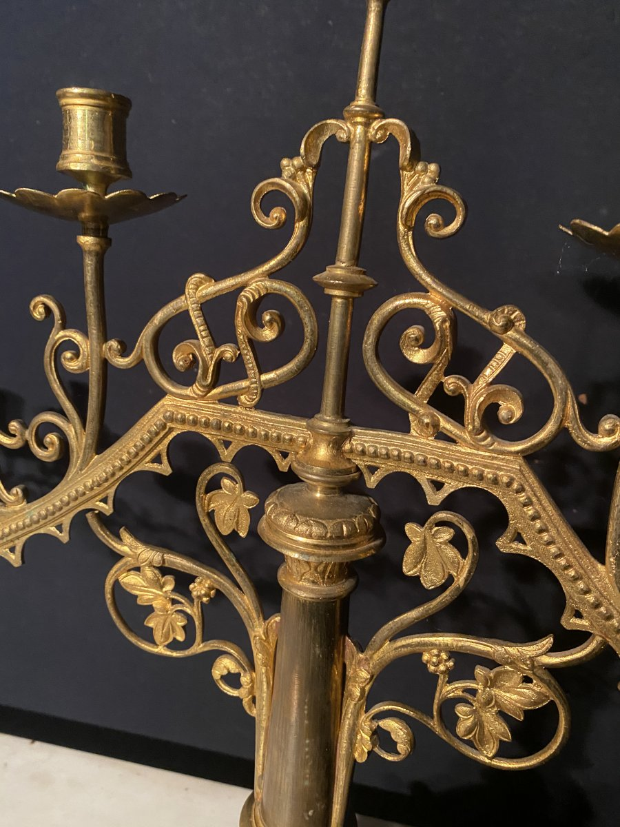 Pair Of Large Church Candelabra In Gilt Bronze-photo-4