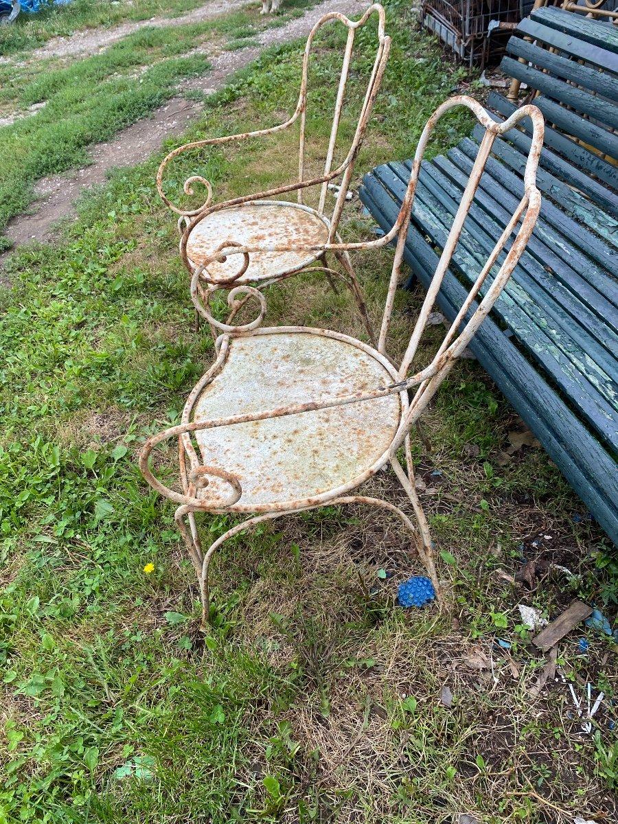 Paire De Fauteuils De Jardin En Fer Forgé XIXe -photo-3