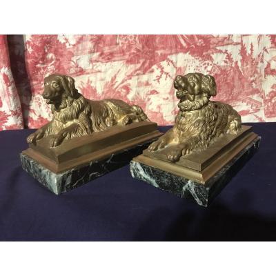 Paire De Chiens En Bronze Doré