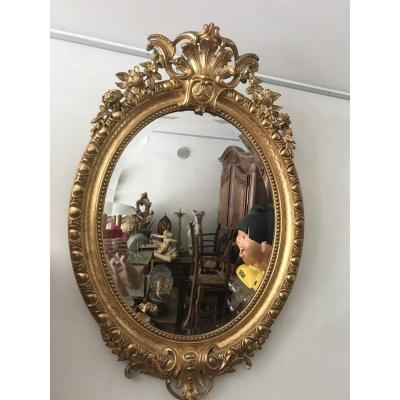 Oval Mirror In Golden Wood