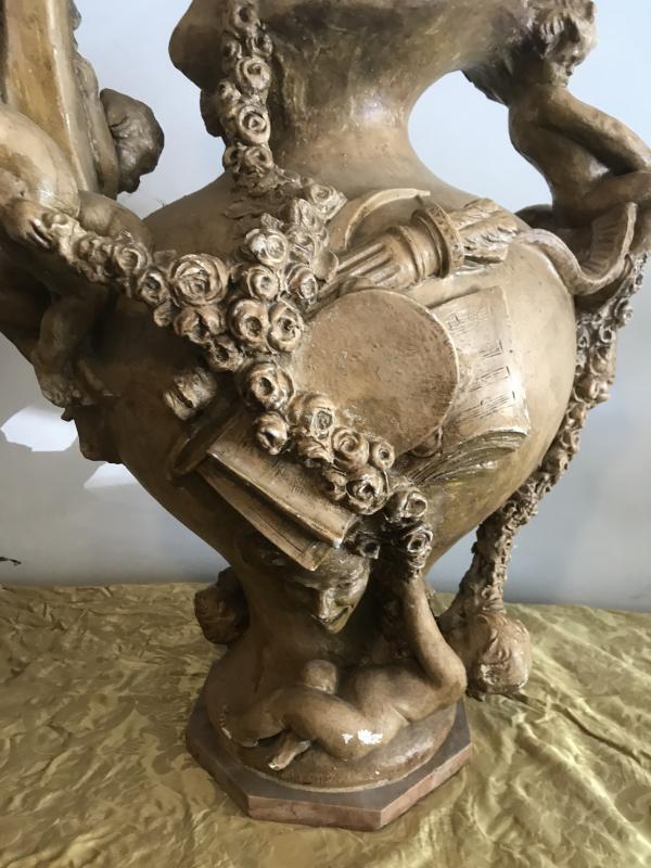 Important Ewer In Terracotta With Cherub Decor-photo-2
