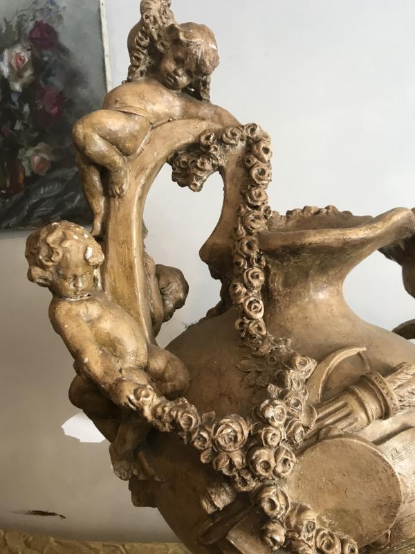Important Ewer In Terracotta With Cherub Decor-photo-3