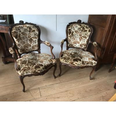 Pair Of Rocailles Armchairs
