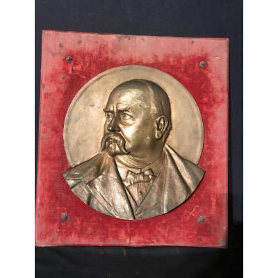 Bas Relief In Bronze Portrait Of Man